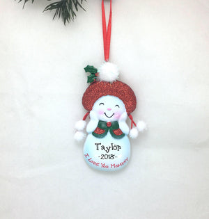 I Love You Mommy Personalized Christmas Ornament / Mother Ornament / Snowman / Mom / Hand Personalized