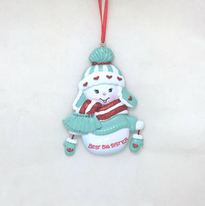 Best Big Sister Personalized Christmas Ornament / Snowman Ornament