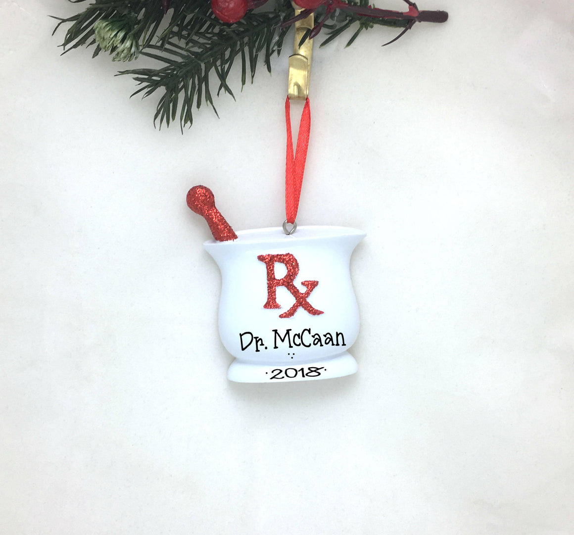 Pharmacist Personalized Christmas Ornament / Red Pharmacy Ornament / Pharmacy School
