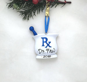 Pharmacist Personalized Christmas Ornament / Blue Pharmacy Ornament / Pharmacy School / Personalized Gift