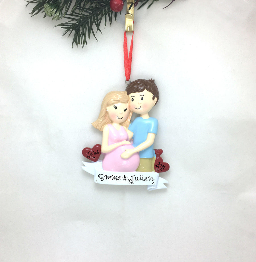 Expecting Couple Personalized Christmas Ornament / Expecting Parents Ornament / Expecting / Pregnancy / Baby Shower / Hand Personalized