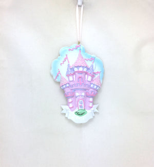 Princess Castle in the Clouds Personalized Christmas Ornament / Princess Party Favor / Gift for kids