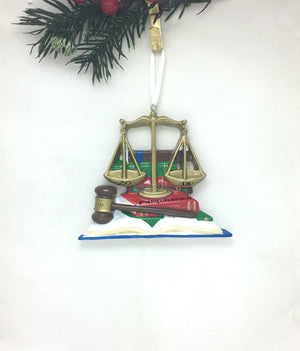 Lawyer Personalized Christmas Ornament / Judge Ornament / Law School / Scales of Justice, Gavel, and Law Books