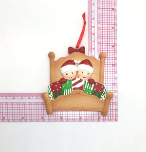 Couple Tucked into Bed Personalized Christmas Ornament