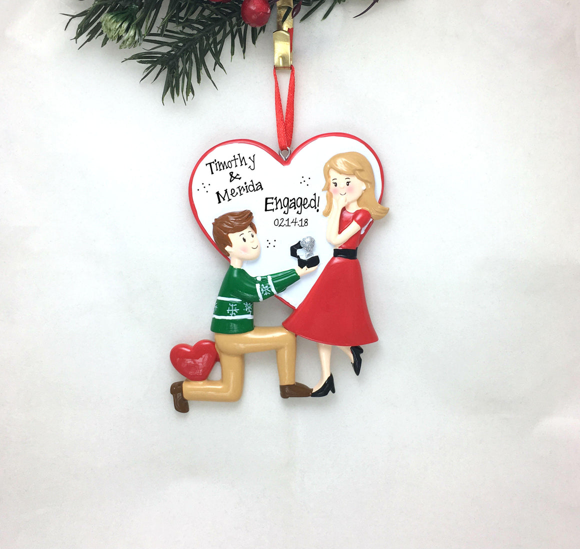 Engagement Personalized Christmas Ornament / Proposal Ornament / Engaged Couple / Our First Christmas