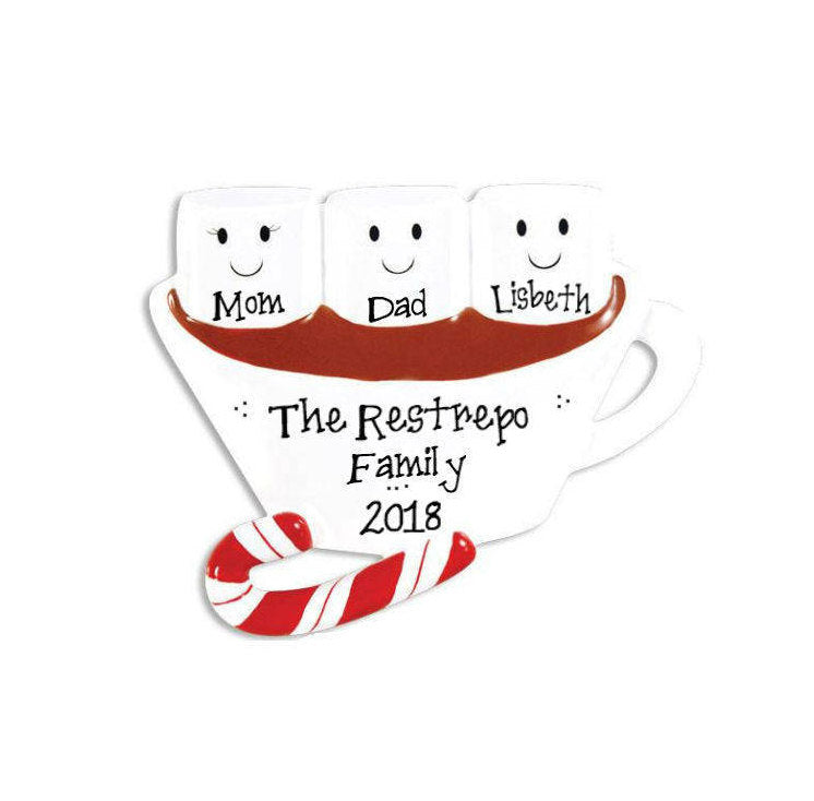 3 Marshmallows in Hot Chocolate Personalized Christmas Ornament