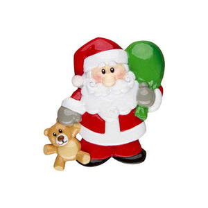 Santa with Sack of Toys and Teddy Bear Personalized Christmas Ornament / Toddler Ornament / Child Ornament / Santa Claus / Hand personalized