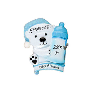 Baby Bear with Blue Bottle Personalized Christmas Ornament / Baby's First / Baby Boy