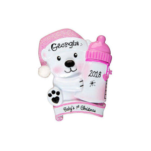 Baby Bear with Pink Bottle Personalized Christmas Ornament / Baby's First / Baby Girl