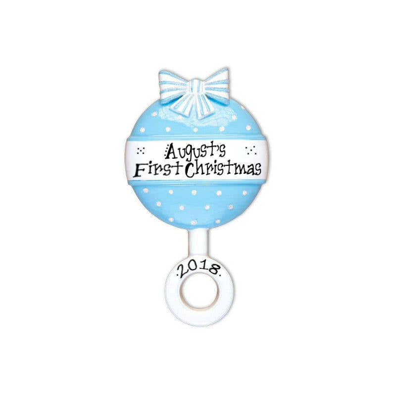 Blue Baby Rattle Personalized Christmas Ornament / Baby's 1st / Baby's First / Hand Personalized