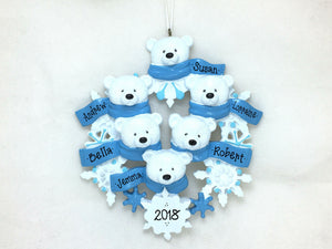 6 Polar Bears with Snowflakes Personalized Christmas Ornament / Polar Bear Family / Hand Personalized Names / Custom