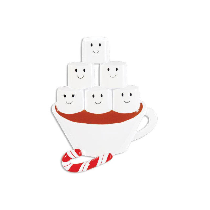 6 Marshmallows in Hot Chocolate Personalized Christmas Ornament