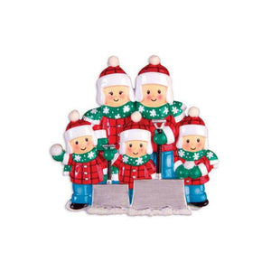 Family of 5 Shoveling Snow Personalized Christmas Ornament