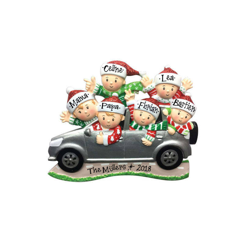6 Family Members in a Car Christmas Ornament / Road Trip Ornament / Family SUV / Hand Personalized with Names and Message