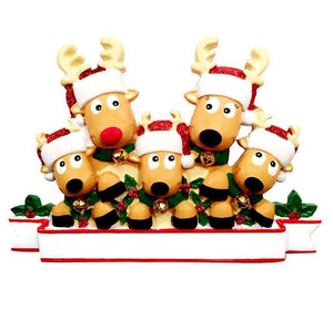 5 Reindeer with Bells Personalized Christmas Ornament