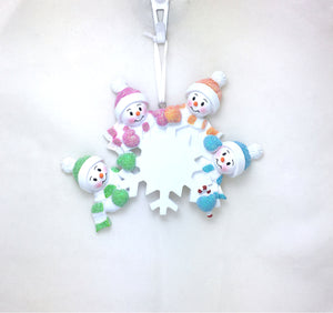 4 Snowmen and Snowflake Personalized Christmas Ornament