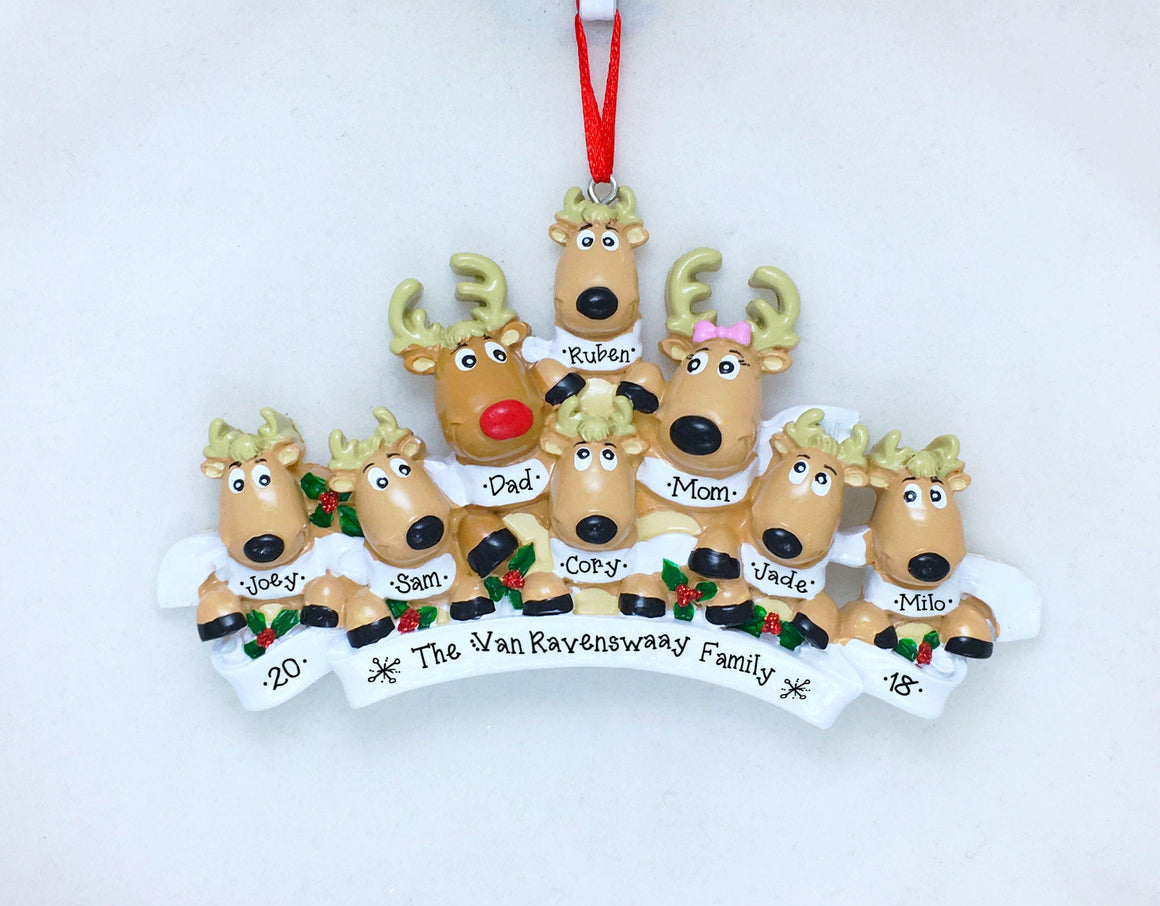 8 Reindeer with Scarves Personalized Christmas Ornament