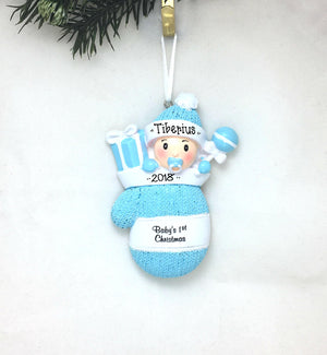 Baby Boy in Mitten Personalized Christmas Ornament / Baby's First