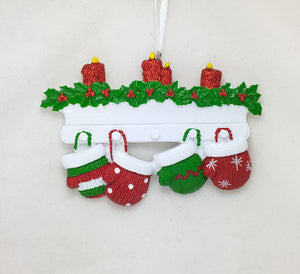 4 Red and Green Mittens Personalized Christmas Ornament