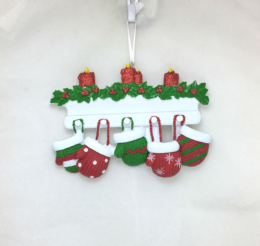 5 Red and Green Mittens Personalized Christmas Ornament