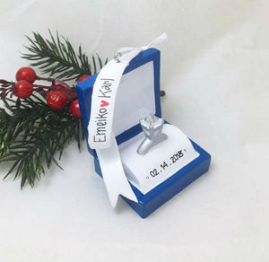 Engagement Ring Personalized Christmas Ornament / Engagement Ring Box Ornament