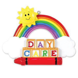 Daycare Personalized Christmas Ornament / Sun, Rainbow, Blocks, Crayon / Day Care Teacher