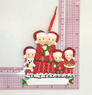 Family of 5 in Matching Pajamas Personalized Christmas Ornament