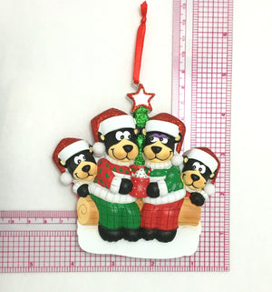 4 Black Bears with Hot Cocoa Personalized Christmas Ornament