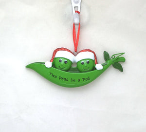 2 Peas in a Pod Personalized Christmas Ornament