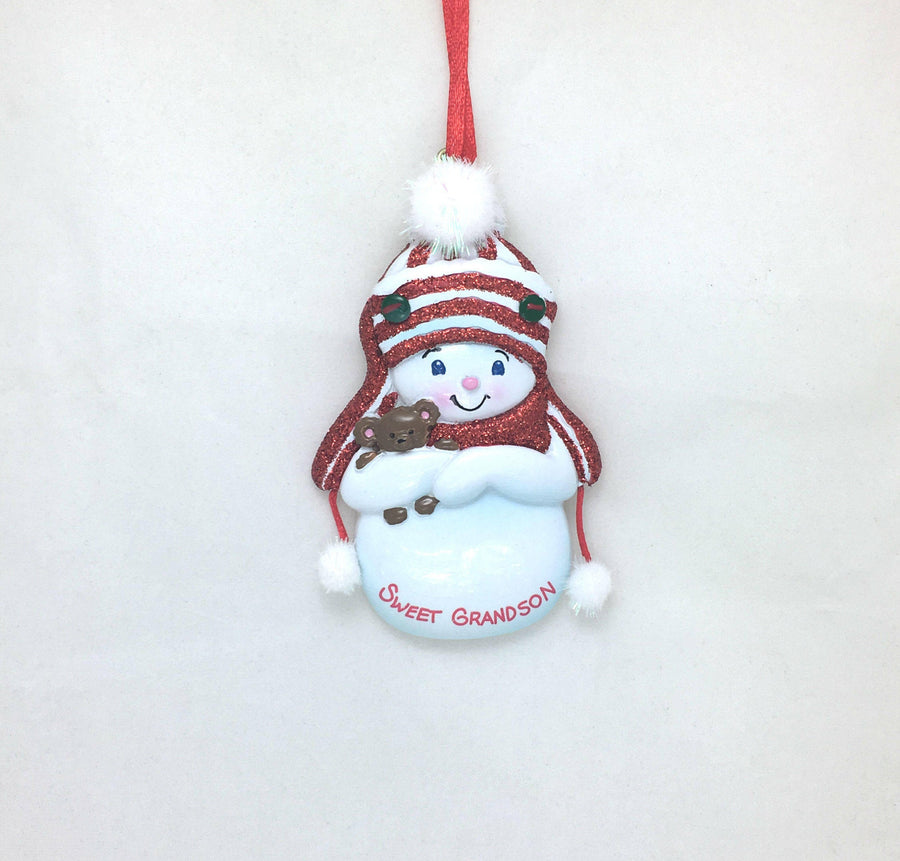 Sweet Grandson Personalized Christmas Ornament / Grandchild Ornament / Snowman / New Baby / Grandparents / Hand Personalized