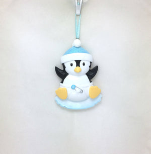 Baby Boy Penguin Personalized Christmas Ornament / Blue / Baby's First