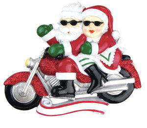 Santa Claus and Mrs. Claus on Motorcycle Personalized Christmas Ornament / Motorcycle Ornament / Hand Personalized with Names or Message