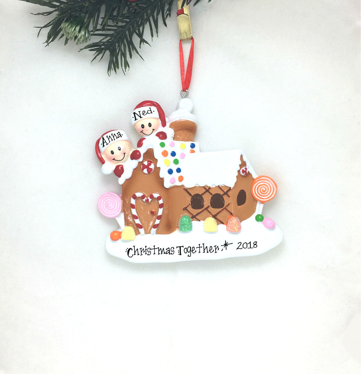 2 Happy Faces in a Gingerbread House Personalized Christmas Ornament