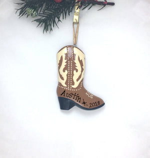 Cowboy Boot Personalized Christmas Ornament / Hand Personalized Christmas Ornament / Custom Name or Message