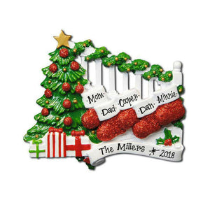 Family of 5 Stockings on the Bannister Personalized Christmas Ornament