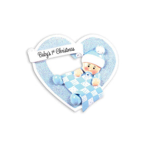 Baby Boy First Christmas Personalized Christmas Ornament / Baby's First Christmas / Blue
