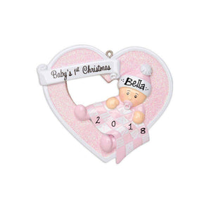 Baby Girl Heart First Christmas Personalized Christmas Ornament / Baby's First