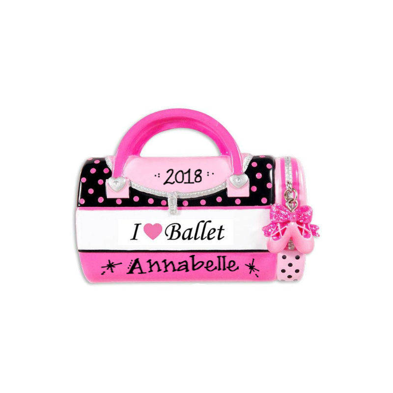 I Love Ballet Christmas Ornament / Personalized Ornament / Dance / Duffel Bag Ornament / Pink and Black / Gift for kids