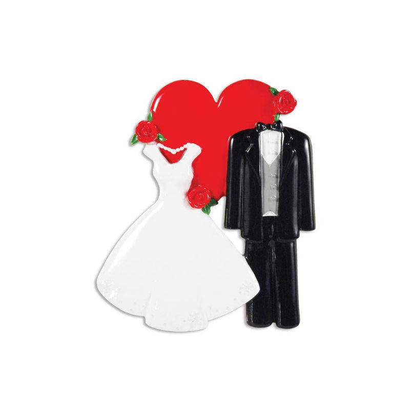 Wedding Gown and Tux Personalized Christmas Ornament / First Christmas / Personalized Ornament / Wedding Ornament / Newlyweds