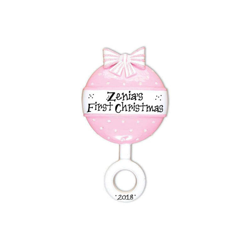 Pink Baby Rattle Personalized Christmas Ornament / Baby's 1st / Baby's First Christmas / Hand Personalized