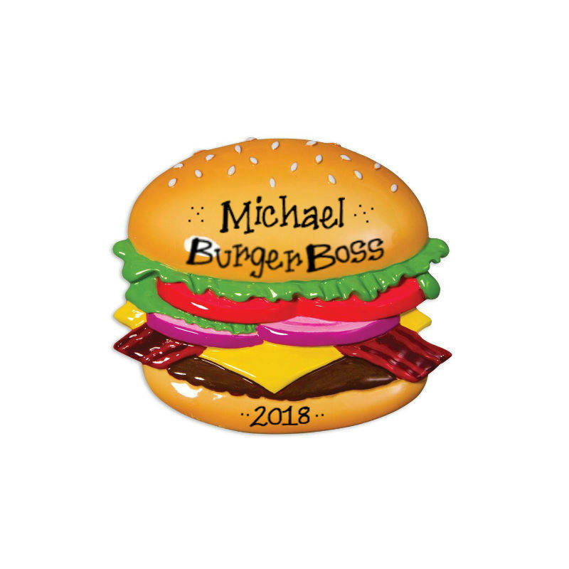 Bacon Cheeseburger Personalized Christmas Ornament / Hamburger / Burger Lover / Hand Personalized with Name and Message