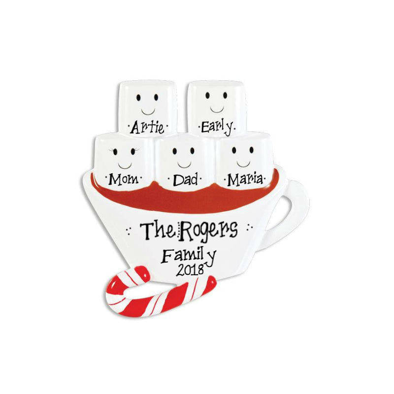 5 Marshmallows in Hot Chocolate Personalized Christmas Ornament