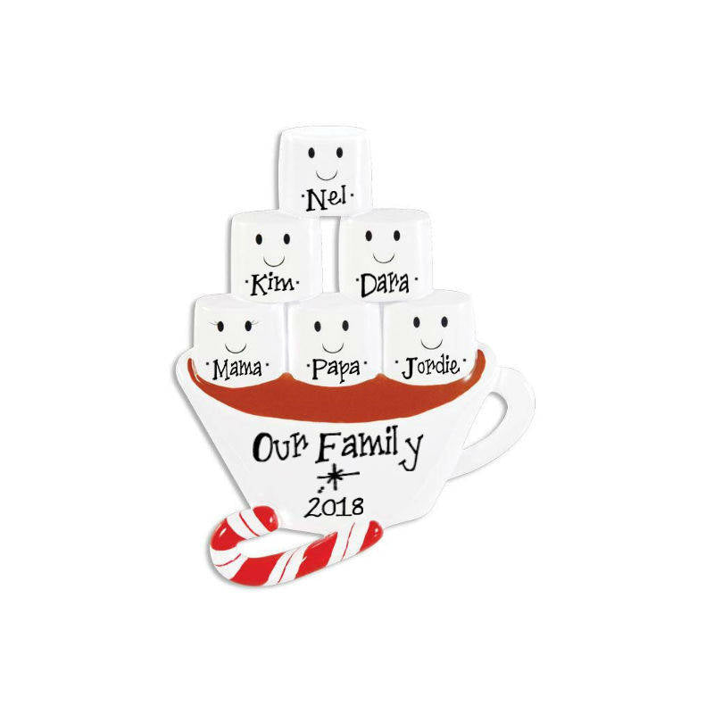 6 Marshmallows Hot Chocolate Family Ornament / Friends Ornament / Personalized Christmas Ornament / Hand Personalized