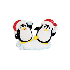 Penguin Couple Snowball Fight Personalized Christmas Ornament / Penguins / First Christmas / Hand Personalized Names & Message