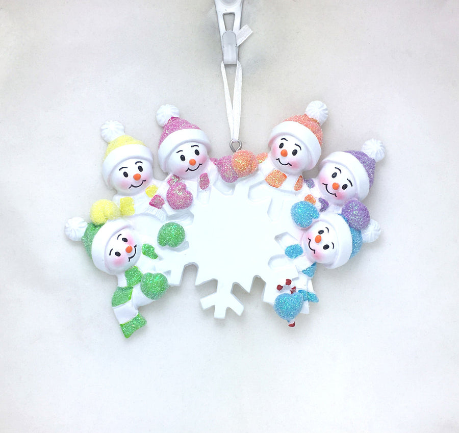 6 Snowmen and Snowflake Personalized Christmas Ornament