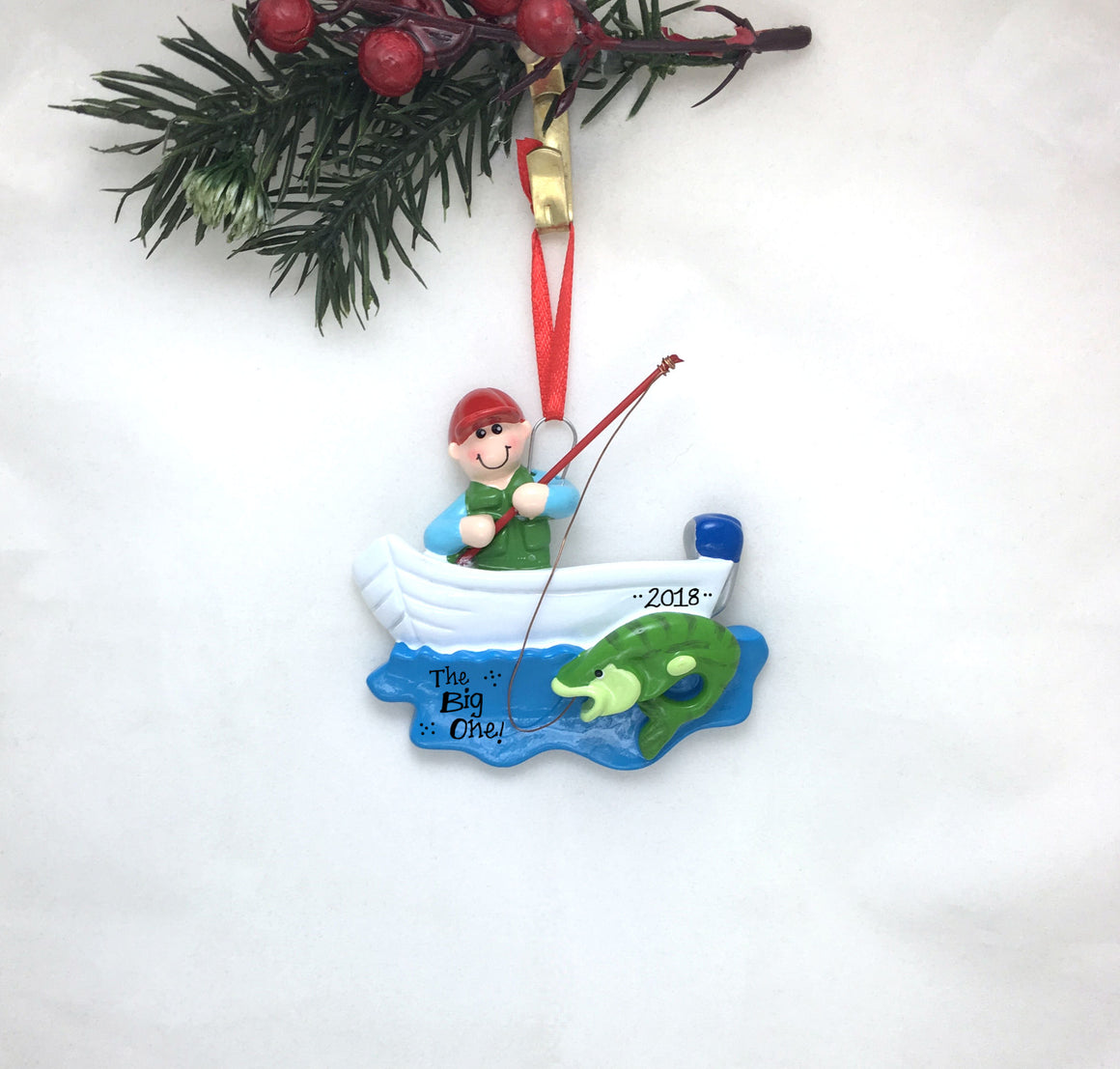 Fishing in a Boat Personalized Christmas Ornament / Fishing Ornament / Fisherman / Personalized Ornament / Dad Gift / Dad Ornament