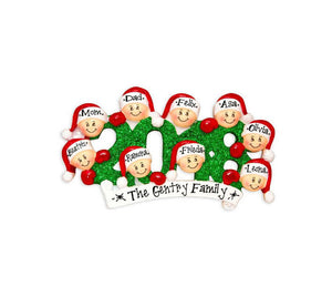 9 Family Members 2018 Ornament / Personalized Family of 9 Christmas Ornament