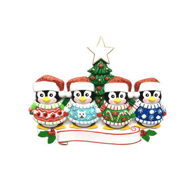 4 Penguins in Ugly Christmas Sweaters Personalized Ornament