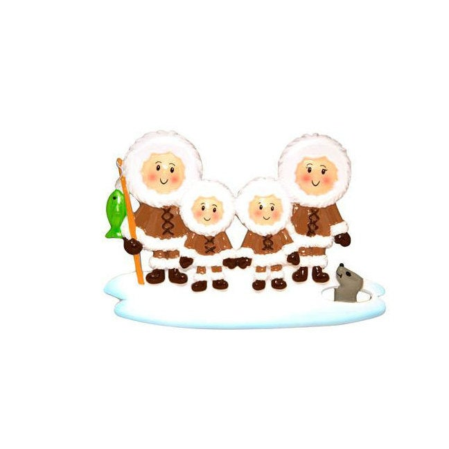 Family of 4 Ice Fishing Personalized Christmas Ornament
