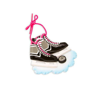 Black and Pink Ice Hockey Skates Personalized Christmas Ornament / Ice Hockey Ornament / Custom Name or Message
